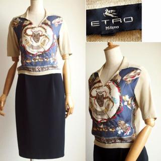 エトロ(ETRO)のエトロ ★ETROロゴ◎シルクスカーフ柄ポロシャツ風ニット(ニット/セーター)