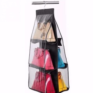 ポケット吊るす収納袋 ハンガーホルダー用ブラッククローゼットかばんバッグ収納 鞄