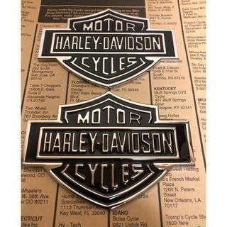 ハーレーダビッドソン(Harley Davidson)の2枚セット ハーレー ダビッドソン  ロゴ メタルエンブレム  大 バイカー (その他)