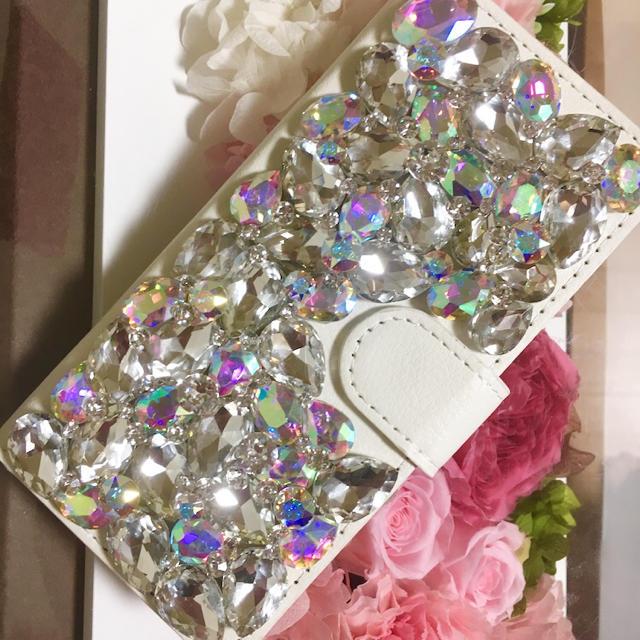 tory iphone7plus ケース バンパー | キラキラガラスストーン+スワロフスキーアイフォンケース カバーの通販 by デコショップ  雅|ラクマ