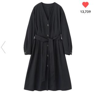ジーユー(GU)のGU☆ フロントボタンノーカラーコート紺(スプリングコート)