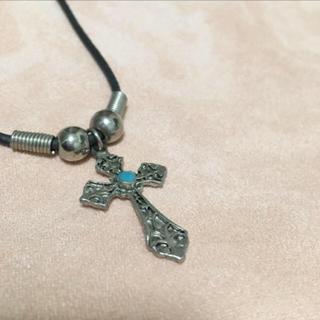 アンプジャパン(amp japan)のネックレス 十字架 ターコイズ ビンテージ アンティーク シルバーストーン付(ネックレス)