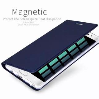 Galaxy note8 【ネイビー】高級感 のある スリムケース