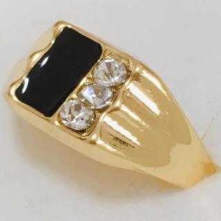指輪 22号 ゴールド×ブラックカラー ストーン リング 新品 メンズ(リング(指輪))