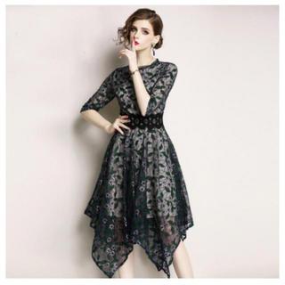 グリーンレーベルリラクシング(green label relaxing)の結婚式 ドレス グリーン (ミディアムドレス)