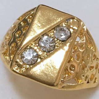 指輪 26号 ゴールド×豪華ストーンリング 新品 メンズ(リング(指輪))
