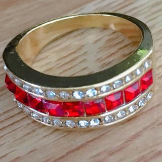 指輪 27号 ゴールド×レッドカラーリング 新品 メンズ(リング(指輪))