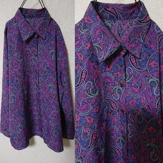 サンタモニカ(Santa Monica)のオールド古着 紫のペイズリー柄シャツ(シャツ/ブラウス(長袖/七分))