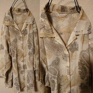 サンタモニカ(Santa Monica)のオールド古着 ビッグシルエット ペイズリー柄と花柄のシャツ(シャツ/ブラウス(長袖/七分))