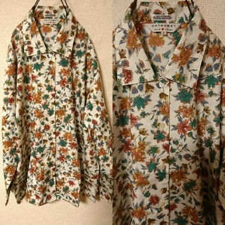 サンタモニカ(Santa Monica)のレア物オールド古着 Kaneboの生地のhathawayのかわいい花柄のシャツ(シャツ/ブラウス(長袖/七分))