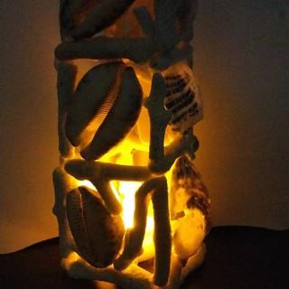 ハンドメイド☆珊瑚と貝殻のランプ☆キャンドル風 ライト(フロアスタンド)