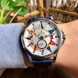 コルム(CORUM)の腕時計 CORUM コルム メンズ 自動巻き 42mm 保存箱付き 激売れ(レザーベルト)