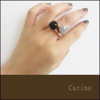 オニキス 大粒 天然石 キャンディ リング ゴールド 9~14号(リング(指輪))