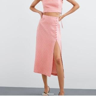 ザラ(ZARA)のザラZARA スリット入りドット柄スカート XS(ロングスカート)