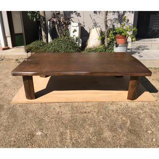 天然調折れ脚テーブルタモ135日本製(折たたみテーブル)