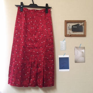 サンタモニカ(Santa Monica)の古着☺︎膝丈サテン地スカート(ひざ丈スカート)