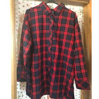 シマムラ(しまむら)のチェックシャツ ワンピース(ひざ丈ワンピース)