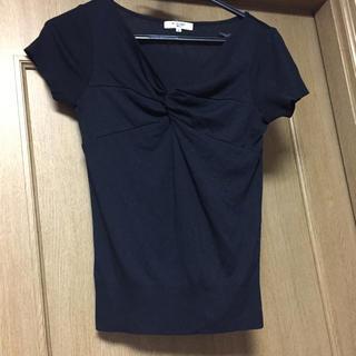 エヌナチュラルビューティーベーシック(N.Natural beauty basic)の黒半袖トップス(カットソー(半袖/袖なし))