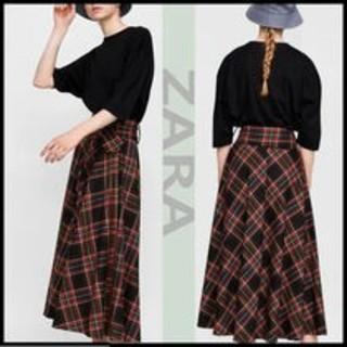 ザラ(ZARA)のZARA 大人気 バックル付きベルトが可愛い♪チェック柄スカート (ロングスカート)