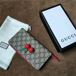 Gucci - GUCCI グッチ さくらんぼ 長財布 ラウンドファスナー長財布