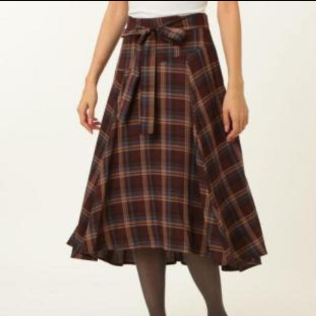 Stola.(ストラ)のstola チェック フレア スカート ブラウン 40 レディースのスカート(ひざ丈スカート)の商品写真