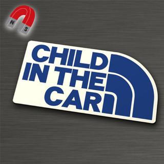 【マグネット】CHILD IN CAR:レインボーデザインBL/WH