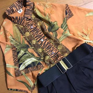 サンタモニカ(Santa Monica)のボタニカル×トラ柄 オーバーサイズ 透け素材 半袖シャツ(シャツ/ブラウス(半袖/袖なし))