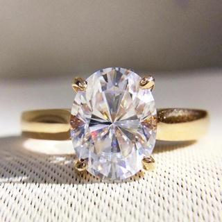 K18*オーバルカットモアサナイト18金一粒リング(リング(指輪))