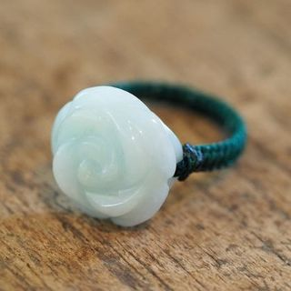 翡翠 リング 18号 のん様専用ヒスイ 薔薇モチーフ 天然石 パワーストーン(リング(指輪))