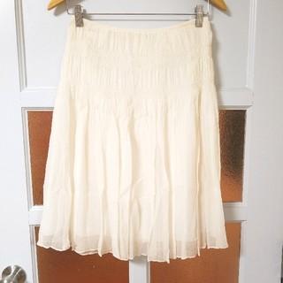 アナイ(ANAYI)のアナイ シルク100% ライトベージュ シフォン プリーツ チュールスカート M(ひざ丈スカート)