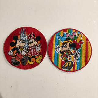 Disney - ディズニー  ミッキー ミニーマウス 風 丸型 ワッペン セット