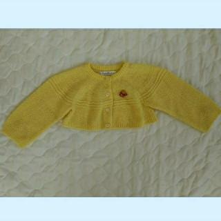 ファミリア(familiar)の【美品】familiar 薄黄色 セーター カーディガン 80センチ(カーディガン/ボレロ)