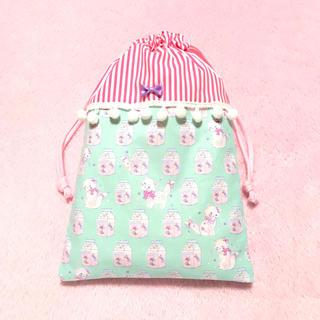 ネコ キャンディパックミント◆巾着◆シューズケースなどに◆ハンドメイド(シューズバッグ)