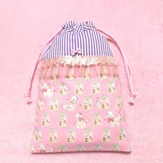 ねこ キャンディパック ピンク◆シューズケース◆上履き入れ◆巾着◆ハンドメイド (シューズバッグ)