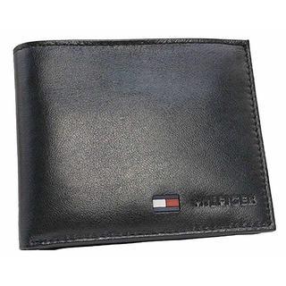 トミーヒルフィガー(TOMMY HILFIGER)のトミーヒルフィガー 二つ折財布 小銭入れ付き レザー メンズ ブラック(折り財布)