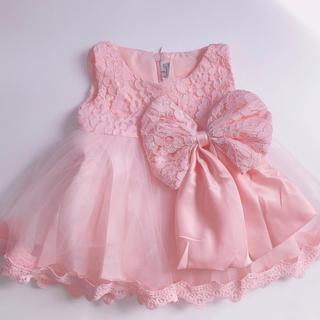 新品♡豪華可愛いプリンセスベビードレス♡60cm♡ピンク(ドレス/フォーマル)