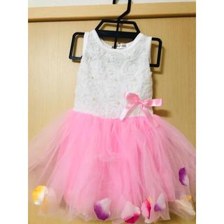 花びら ベビードレス 3点セット ピンク(ドレス/フォーマル)