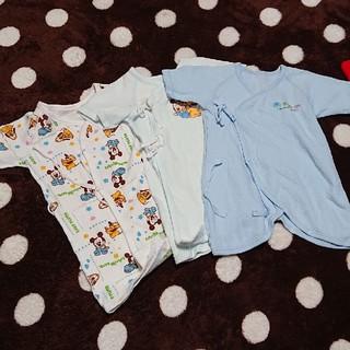 ディズニー(Disney)の新生児 肌着 冬用 キルティング ミッキー 3枚 セット(肌着/下着)