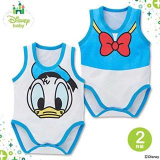 ディズニー(Disney)の新品未使用 ノースリーブロンパース肌着(ドナルド)80  (肌着/下着)