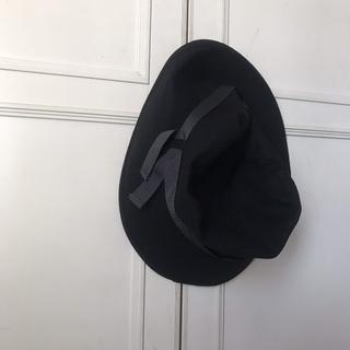 ロキエ(Lochie)のmarieclaireバケットハットブラック黒リボン古着vintage女優帽(ハット)