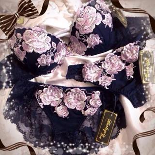 リュクスROSE刺繍ブラジャー&フルバック&Tバックショーツ★ネイビー★C70(ブラ&ショーツセット)