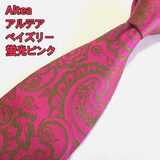 アルテア(ALTEA)のアルテア Altea ネクタイ 高級シルク イタリア製 ペイズリー 蛍光ピンク(ネクタイ)