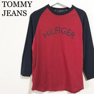 トミーヒルフィガー(TOMMY HILFIGER)のトミージーンズ ラグラン メンズ 赤 紺 ロゴマーク ロンT トミーヒルフィガー(Tシャツ/カットソー(七分/長袖))