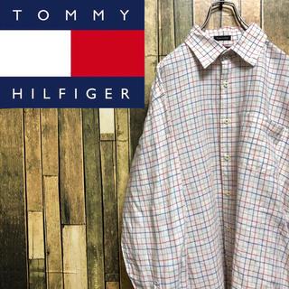 トミーヒルフィガー(TOMMY HILFIGER)の【レア】トミーヒルフィガー☆ロゴタグ入りコットンリネン格子チェックシャツ(シャツ)