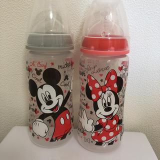 ディズニー(Disney)のNuk ヌーク 哺乳瓶 蓋付き ミニー ミッキー300ml(哺乳ビン)