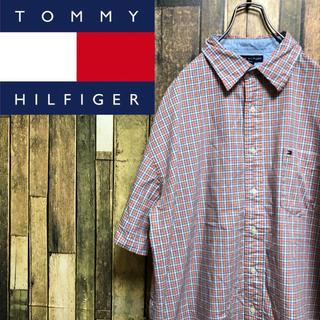 トミーヒルフィガー(TOMMY HILFIGER)の【レア】トミーヒルフィガー☆ワンポイント刺繍ロゴ入り半袖チェックシャツ(シャツ)