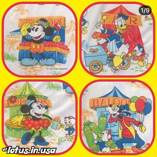 ディズニー(Disney)のミッキー  ミニー ビンテージ フラットシーツ 生地613(生地/糸)