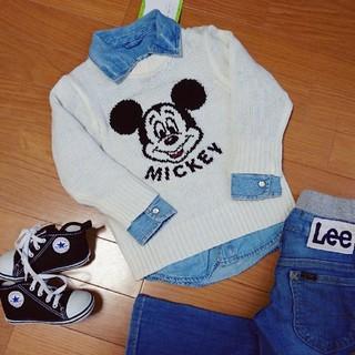 ディズニー(Disney)の新品 ミッキー ロンT 80 男女兼用 ディズニー 双子ちゃん ニット セーター(トレーナー)