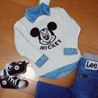 ディズニー(Disney)の新品 ミッキー ロンT 90 男女兼用 ディズニー 双子ちゃん ニット セーター(Tシャツ/カットソー)