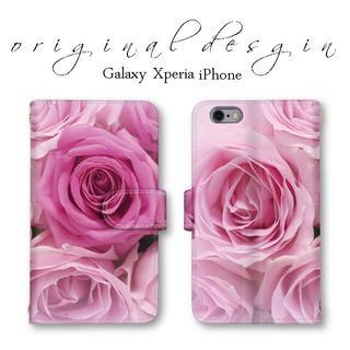 Xperia AQUOSケース ほぼ全機種対応 手帳型 ピンクの薔薇 送料無料